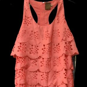Laser Cut Ali Ro Tiered Coral Dress 2